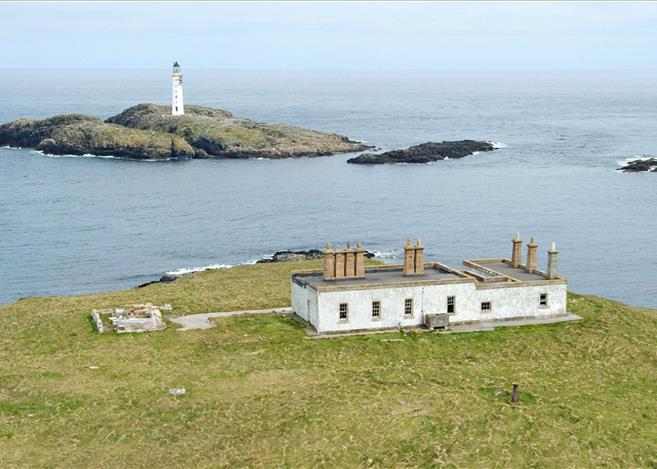 island of grunay lighthouse buildings out skerries