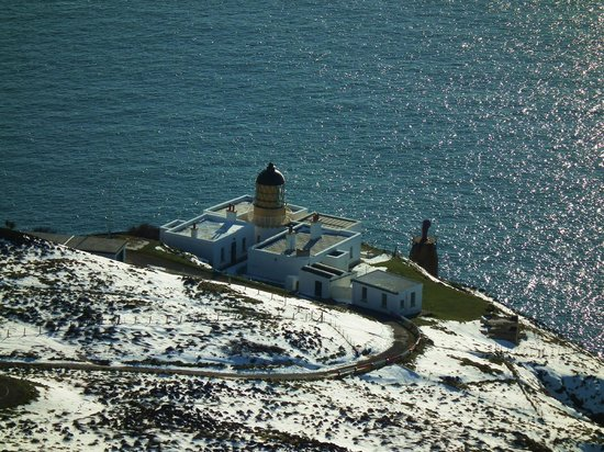 Mull of Kintyre Lighthouse Buildings After Snowfall